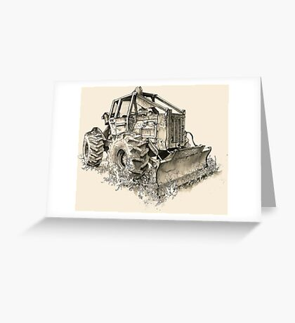 Log Tractor - Ink Greeting Card