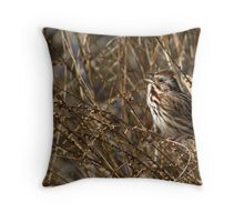 Song Sparrow Singing for Spring Throw Pillow