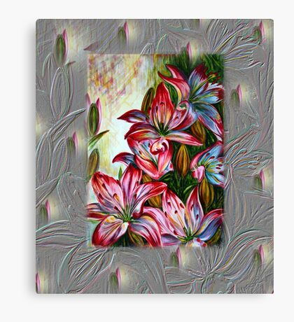Red Lilies Fantasy Canvas Print