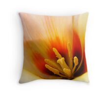 Tulip Flower macro Peach Orange Flowers art Baslee Troutman Throw Pillow