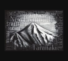 Mt Taranaki Places - Black One Piece - Long Sleeve