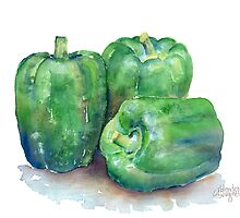 Green Bell Peppers by arline wagner