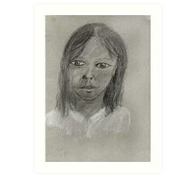 Portrait Study In Chalk and Charcoal Art Print