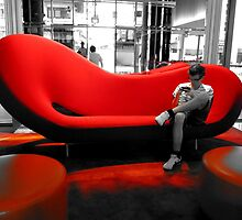 Black and White In A Big Red Chair 2 by slkuskopf