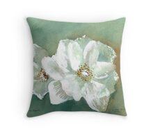 White Blooms Throw Pillow