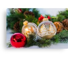 Christmas ornaments with greenery Canvas Print