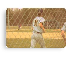 Out at First! 1960's Canvas Print