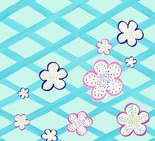 Baby Blue Garden Flowers by Irina Sztukowski