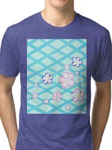 Baby Blue Garden Flowers Tri-blend T-Shirt