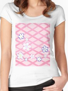 Baby Pink Garden Flowers Women's Fitted Scoop T-Shirt