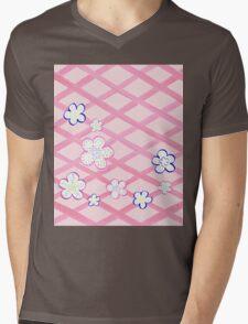 Baby Pink Garden Flowers Mens V-Neck T-Shirt
