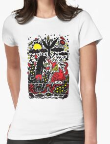 Red Black Yellow Womens Fitted T-Shirt