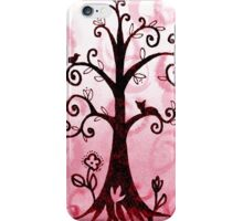 Whimsical Tree With Cat And Bird iPhone Case/Skin