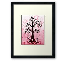 Whimsical Tree With Cat And Bird Framed Print