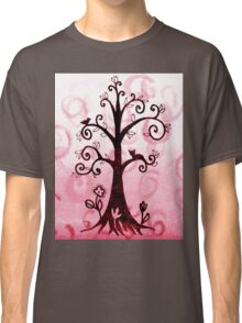 Whimsical Tree With Cat And Bird Classic T-Shirt