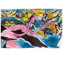 Chilean Flamingo Graffiti  Poster