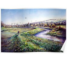 Plein aire, A spring day in Alfriston,Sussex Poster