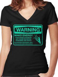 Warning: Mako Energy Women's Fitted V-Neck T-Shirt