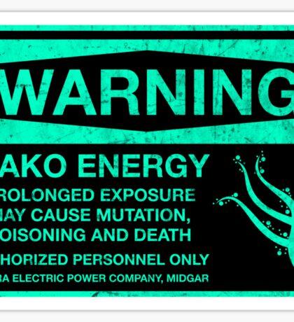 Sticker! Warning: Mako Energy Sticker