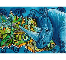 South African Rhino Graffiti Photographic Print