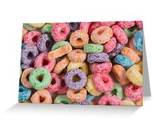 Fruit loops cereal background Greeting Card