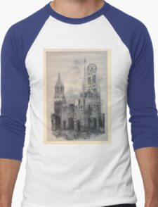 Auguste Lepère Façade of Rouen Cathedral by Auguste Lepère Men's Baseball ¾ T-Shirt