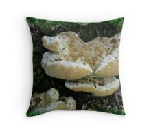 Puffy Shelf Fungus and Moss Throw Pillow