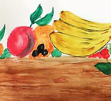 Table of Fruit, watercolor by Anna  Lewis, blind artist