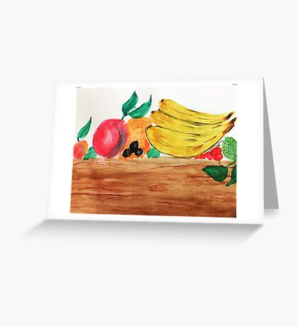Table of Fruit, watercolor Greeting Card