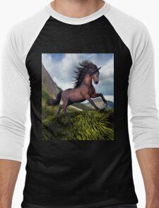 Rocky Mountain Stallion  Men's Baseball ¾ T-Shirt
