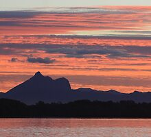 sunset over wollumbin by gail woodbury