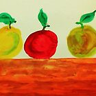 3 Apples on Table, watercolor by Anna  Lewis