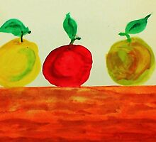 3 Apples on Table, watercolor by Anna  Lewis, blind artist