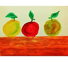 3 Apples on Table, watercolor Photographic Print