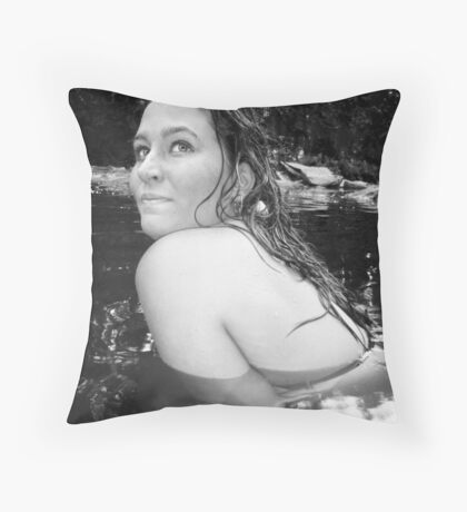 Lady of the stream Throw Pillow