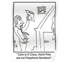 Funny North Pole Phone bill Cartoon. Poster