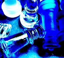 The Game- blue and white glass chess pieces by Lorette C. Luzajic