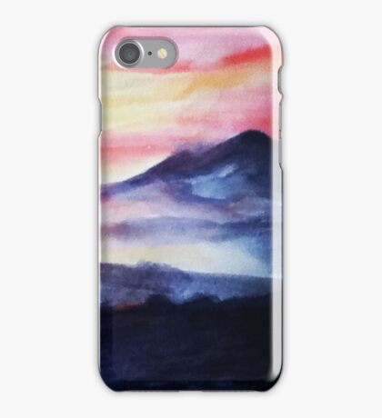 Red Sunset Misty Mountains iPhone Case/Skin
