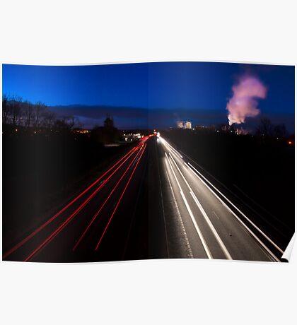 Car light trails Poster