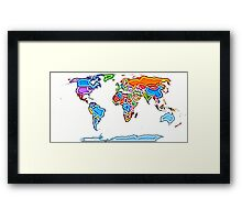 Painting Style Colored World Map Framed Print