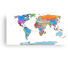 Painting Style Colored World Map Metal Print