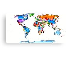 Painting Style Colored World Map Canvas Print