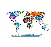 Painting Style Colored World Map Photographic Print