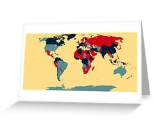 Colored World Map Greeting Card
