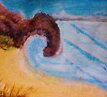 Natural Arch on coastline, watercolor by Anna  Lewis, blind artist