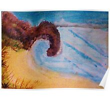 Natural Arch on coastline, watercolor Poster