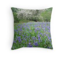Crab apple tree and bluebells Throw Pillow