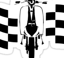 Scooter with racing checks Sticker