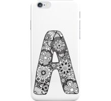 Black&White Zentangle Inspired Alphabet Letter A iPhone Case/Skin
