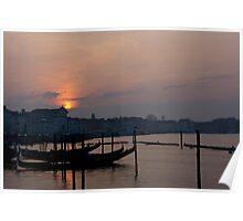 Sunrise Over Italian Gondolas Poster